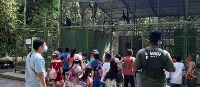 Crianças em vulnerabilidade social participam de visita guiada no Bioparque da Amazônia em Macapá/Ap